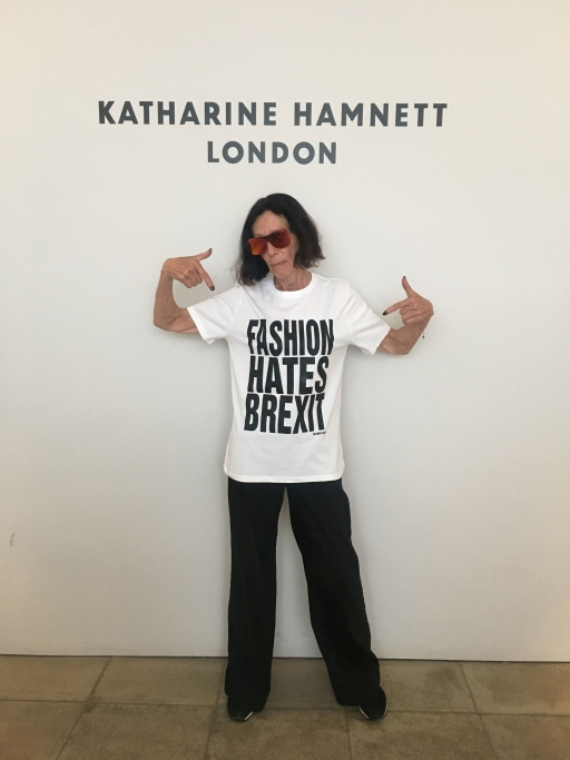 "A woman with a t-shirt reading ""FASHION HATES BREXIT"""
