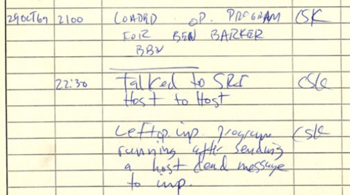 The log page showing the connection from UCLA to Stanford Research Institute on Oct. 29, 1969.