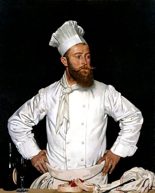 A painting of a chef wearing white chef hat and jacket