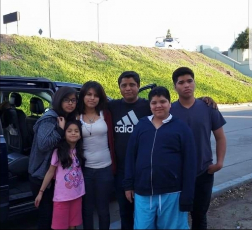 A family stands in front of car near a green hill
