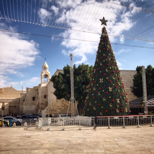 Christmas tree in front of Church of Nativity