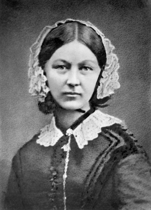 A portrait of Florence Nightingale wearing a white lace bonnet.