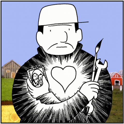 A comic book panel of a man clutching a photo, wrench and paint brush