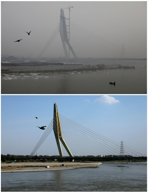 A combination picture shows birds flying over the waters of the Yamuna river near the Signature bridge on Nov. 1, 2019 and after air pollution level started to drop during a nationwide lockdown to slow the spreading of the coronavirus disease (COVID-19),