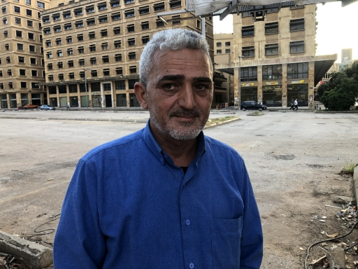 Ghazi Alam al-Din standing near Martyrs' Square in Beirut, Lebanon.