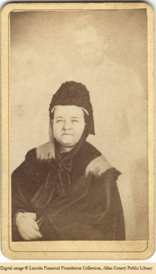 "An old photograph of Mary Todd Lincoln that appears to show the ""ghost"" of Abraham Lincoln"