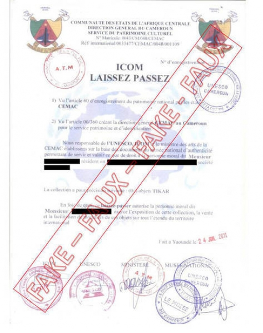 Scammers are using fake certificates with UNESCO's logo to convince art buyers to pay fees for the export of artworks.