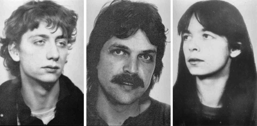 Three mug shots in black and white of suspected members of a terror group, RAF.