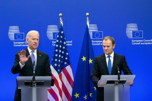 Former US Vice President Joe Biden holds a joint statement with European Council President Donald Tusk ahead of a meeting to discuss events in the Ukraine at EU Council headquarters in Brussels Feb. 6, 2015.