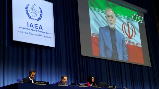 IAEA Director General Rafael Grossi listens as head of Iran's Atomic Energy Organization Ali-Akbar Salehi delivers his speech at the opening of the IAEA General Conference at their headquarters in Vienna, Austria, Sept. 21, 2020.