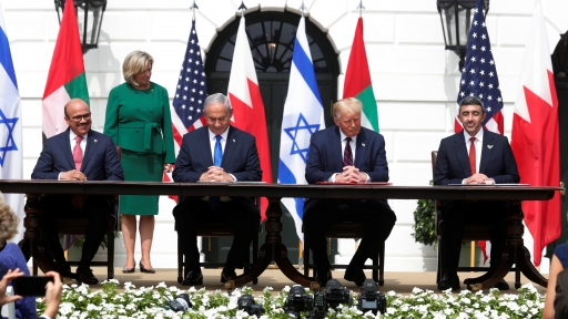Bahrain's Foreign Minister Abdullatif al-Zayani, Israel's Prime Minister Benjamin Netanyahu, US President Donald Trump and UAE Foreign Minister Abdullah bin Zayed Al Nahyan participate in the signing ceremony of the Abraham Accords in Washington, DC, Sept