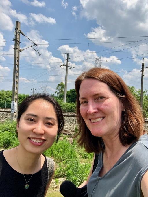 Mary Kay Magistad, right, reported from China with reporter Shuang Li, left, in June 2019.