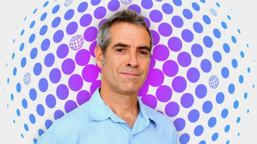 Portait of Marco Werman on a purple and blue illustration background