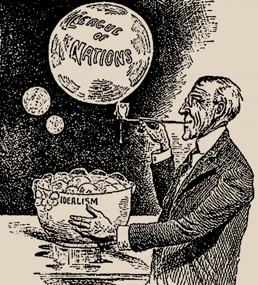 "A cartoonist depiction of a man (Woodrow Wilson) blowing a bubble labeled ""League of Nations"" out of a bowl labeled ""Idealism"""