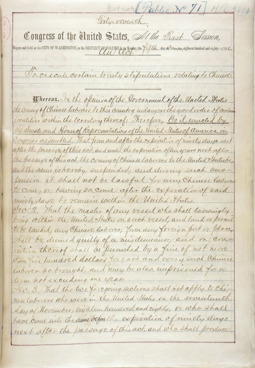 Handwritten document for the first page of the Chinese Exclusion Act of 1882