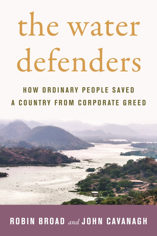 """The book jacket to """"The Water Defenders,"""" showing a natural setting with a river."""
