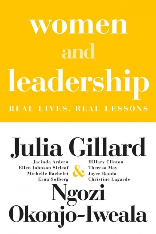 Yellow and white cover of the 'Women and Leadership' book