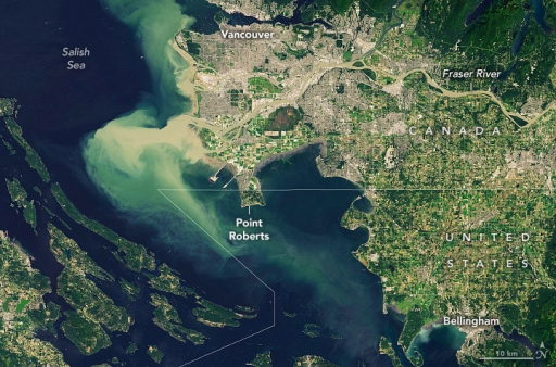 A map of Point Roberts, situated on a peninsula in the Puget Sound.