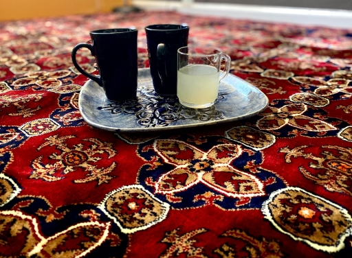 A newly arrived Afghan family, now in Sacramento, California, is slowly furnishing their apartment. A family friend, also from Afghanistan and now living in Sacramento, too, gave them a Persian rug.
