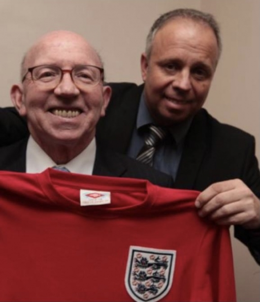 John Stiles with his late father, Nobby Stiles.