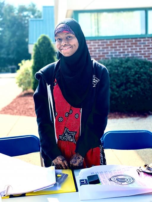 Rumbila Abdullahi at a Springfield farmers market in September 2020, where she worked as a translator for Somali Bantu farmers.