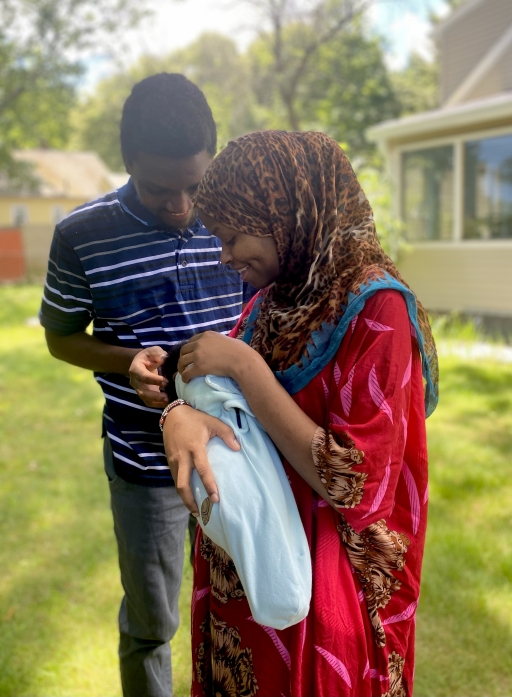 Rumbila Abdullahi, her husband, Ibrahim Abdi, and their newborn son, Nabeel.