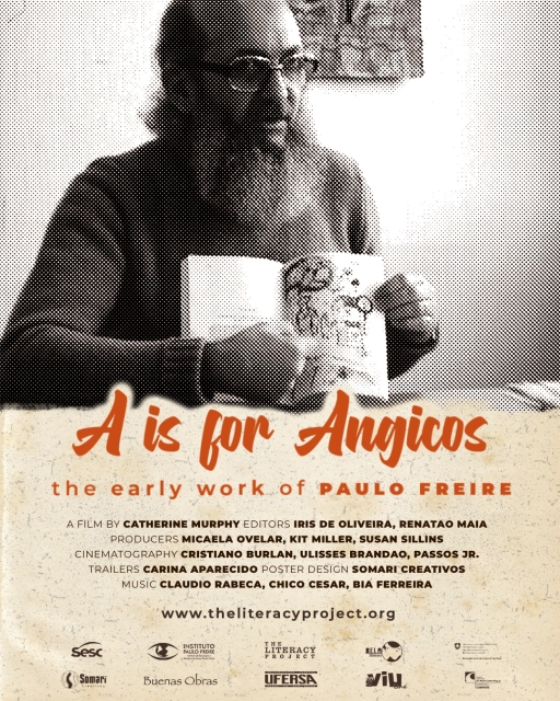 """""""A is for Angicos"""" documentary film poster with a black and white image of Paulo Freire."""