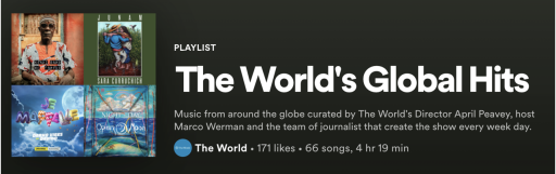 Screen shot of Global Hits playlist from Spotify