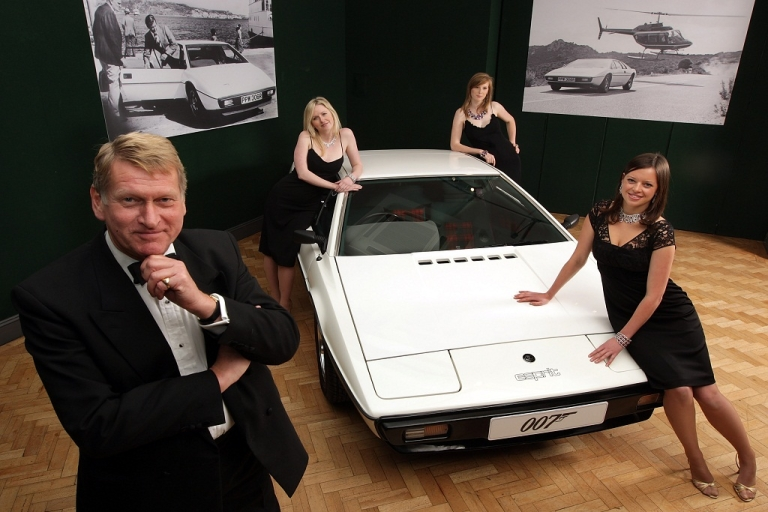 <p>Staff from Bonhams auctioneers in London dressed as characters from a James Bond film pose with a white 1976 Lotus Esprit car from the 1977 film ' The Spy Who Loved Me ' in London, England on November 13, 2008. The Saab 900 Turbo is set be auctioned off on Jan. 20.</p>
