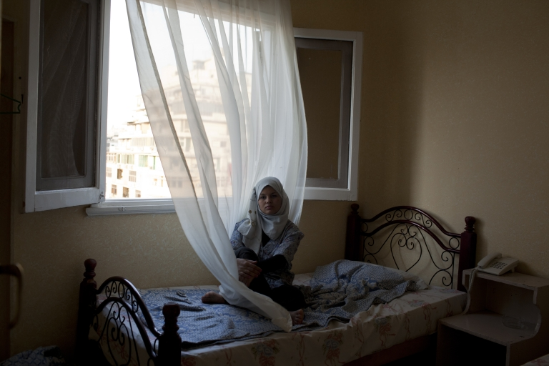<p>Samira Ibrahim in a hotel room in Cairo, Egypt on October 17, 2011.</p>