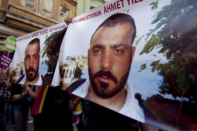 <p>Demonstrators tried to raise awareness of the 2008 murder of Ahmet Yildiz (
