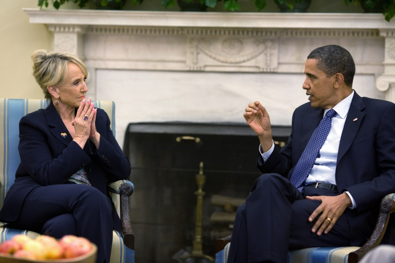 <p>U.S. President Barack Obama meets with Arizona Gov. Jan Brewer in the Oval Office of the White House June 3, 2010 in Washington, DC for the first time since Brewer signed a controversial anti-immigration bill into law April 23.</p>
