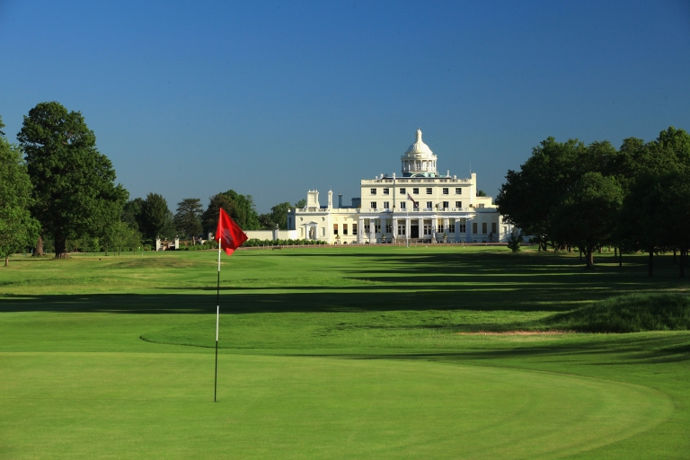 <p>The golf course and hotel at Stoke Park in Stoke Poges, England.</p>