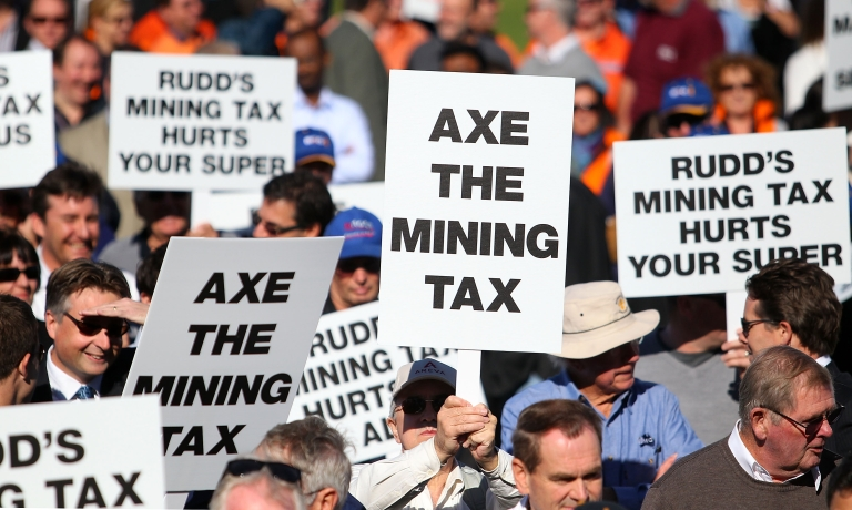 <p>Protesters rally in Perth, Western Australia, against the government's proposed mining tax, targeting an address by Prime Minister Kevin Rudd to the Perth Press Club on June 9, 2010. Rudd was in Western Australia to campaign for his proposed 40 percent resources super profits tax amid falling approval ratings in recent polls and strong opposition from the mining industry.</p>