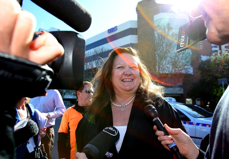<p>Gina Rinehart, chairman of Hancock Prospecting joins a protest against a proposed 40 percent resources super profits tax outside the Perth Press Club on June 9, 2010 in Perth, Australia.</p>