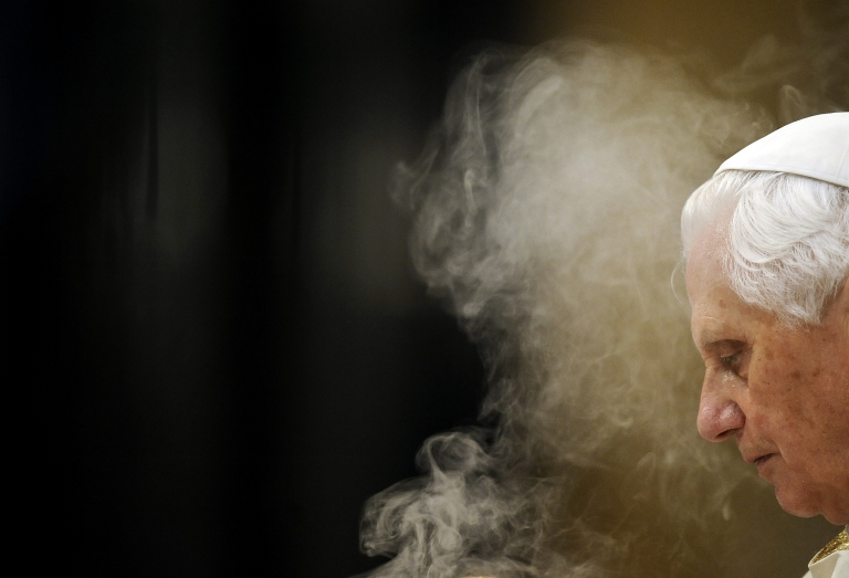 <p>Pope Benedict XVI spreads incense as he leads the Corpus Domini mass on June 3, 2010 in Rome's Basilica of St. John Lateran.</p>