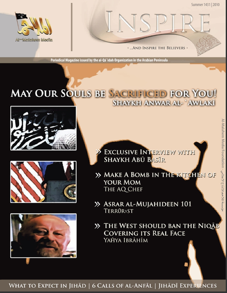 <p>A computer screen shot taken on July 12, 2010, shows the cover of the newly-released first edition of the Yemen-based Al Qaeda in the Arabian Peninsula's