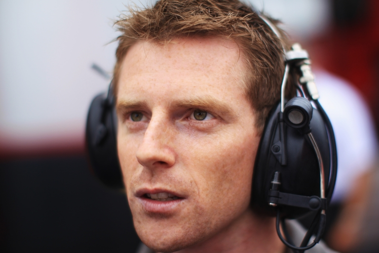 <p>Former F1 driver Anthony Davidson commentates for the BBC before qualifying for the German Grand Prix at Hockenheimring on July 24, 2010 in Hockenheim, Germany.</p>