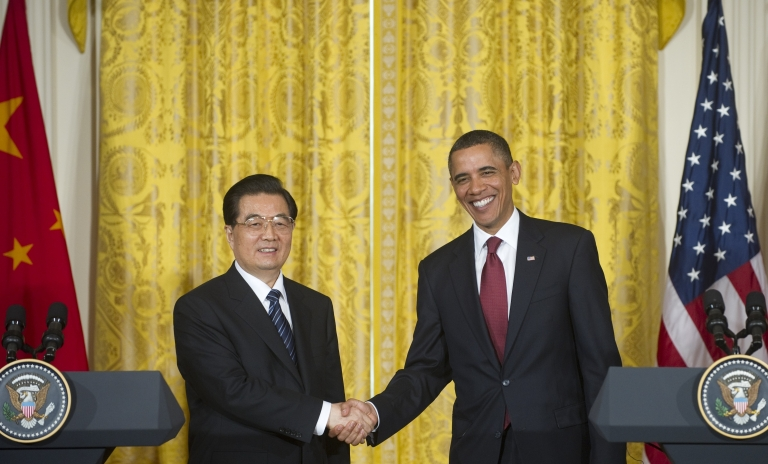 <p>US President Barack Obama shakes hands with Chinese President Hu Jintao during a joint press conference in the East Room of the White House in Washington, DC, January 19, 2011.</p>