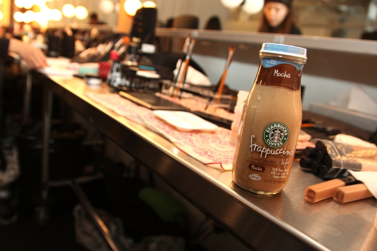 <p>attends the Bespoken Presentation Fall 2011 with Starbucks Frappuccino during Mercedes-Benz fashion week at Chelsea Piers - Pier 59 Studio 10 on February 12, 2011 in New York City.</p>