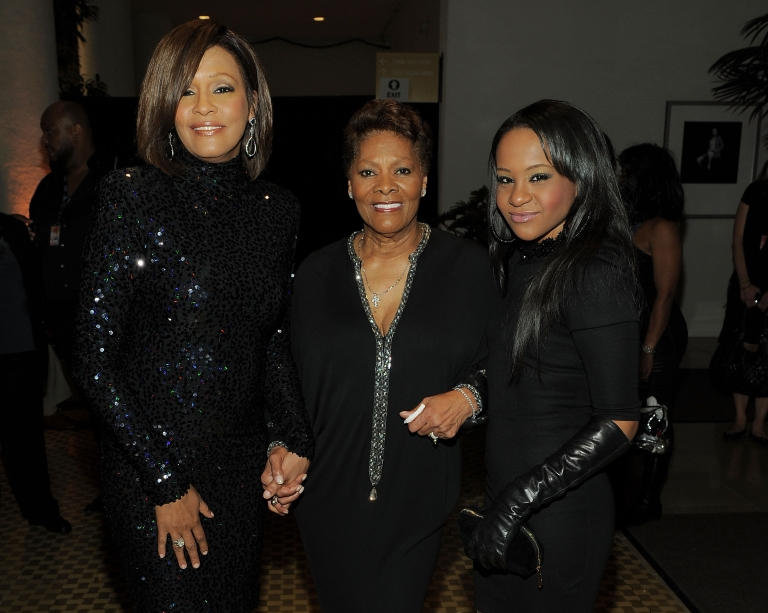 <p>Singer Whitney Houston, Singer Dionne Warwick and Bobbi Kristina Brown arrives at the 2011 Pre-GRAMMY Gala at the Beverly Hilton on February 12, 2011.</p>