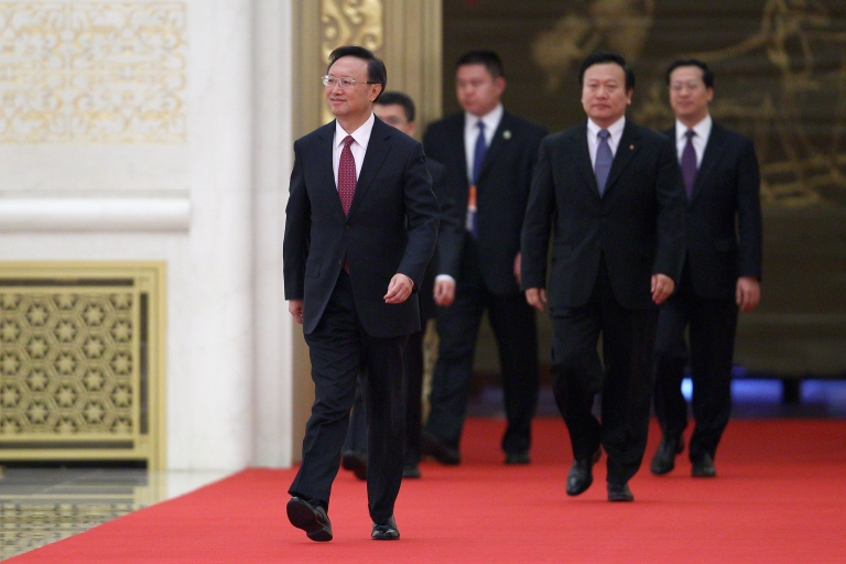 <p>Chinese Foreign Minister Yang Jiechi (left) attends a news conference at The Great Hall Of The People on March 7, 2011 in Beijing, China. Yang voiced Beijing's firm opposition to the sale of U.S. arms by Washington to Taiwan, saying the U.S. government