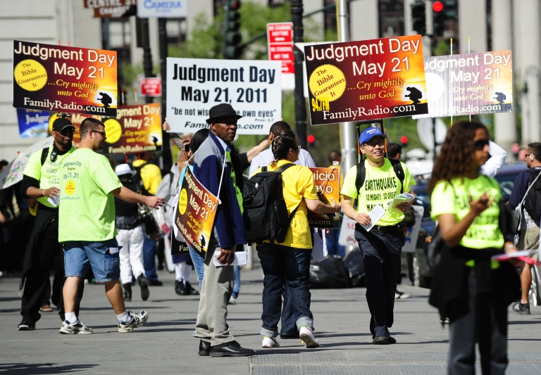 <p>10. The Rapture (May 21, 2011): Activists who believed that 'Judgement Day' would occur on May 21, 2011, spread their word near Manhattan City hall in New York on May 12, 2011. Minister and evangelical broadcaster based in California Harold Camping, 89, predicted the end of the world, pointing to mathematical clues in the Bible as the source of his prediction and had his many followers and some 2,000 billboards announcing the event. On May 21, according to Camping, all true Christians should have been taken to heaven while those left behind suffered through cataclysms until the end of the universe, predicted to be October 21, 2011.</p>