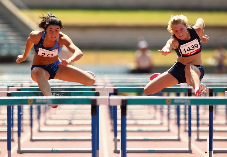 <p>Michelle Jenneke (L) and Brooke Stratton compete in the Womens Under 20 100m Hurdles Final during day three of the Australian Junior Athletics Championships at Sydney Olympic Park Athletic Centre on March 12, 2011 in Sydney, Australia.</p>