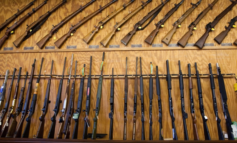 <p>An assortment of rifles and shotguns at a gun expo in El Paso, Texas, USA, on March 13, 2011.</p>