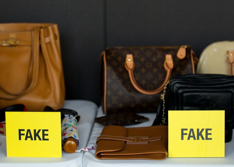 <p>A view of fake bags at Harper's Bazaar Annual Anti-counterfeiting Summit at Hearst Tower on April 26, 2011 in New York City.</p>