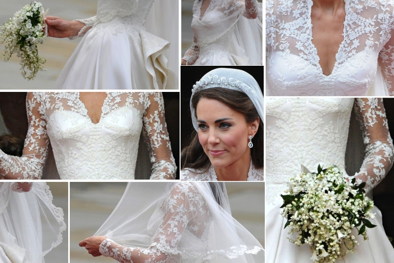 <p>The wedding dress of Kate, Duchess of Cambridge, pictured as she steps out of Westminster Abbey in London, after marrying Britain's Prince William on April 29, 2011.</p>