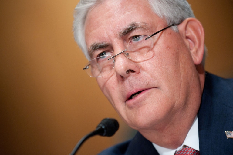 <p>Exxon Mobile CEO and Chairman Rex Tillerson testifies before a full Senate Finance Committee hearing on 'Oil and Gas Tax Incentives and Rising Energy Prices' on Capitol Hill in Washington, DC, May 12, 2011.</p>
