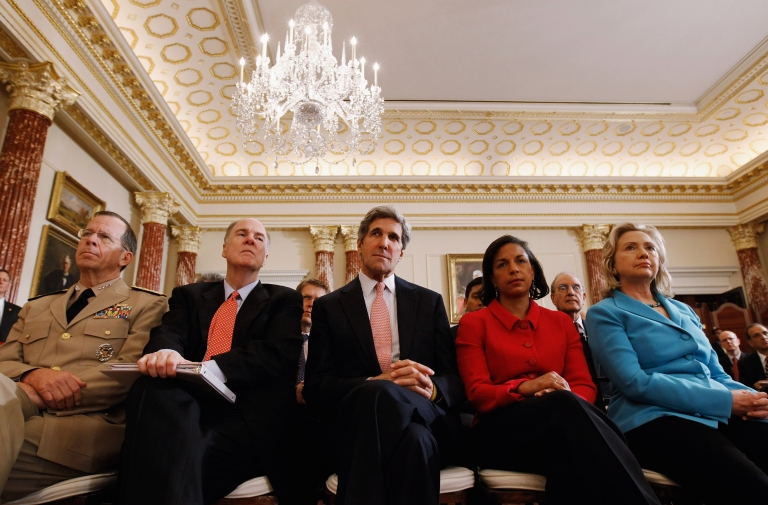 <p>Chairman of the Joint Chiefs of Staff Admiral Mike Mullen, National Security Adviser Tom Donlion, Sen. John Kerry (D-MA), UN Ambassador Susan Rice and Secretary of State Hillary Clinton listen to President Barack Obama deliver a speech on Mideast and North Africa policy in the Ben Franklin Room at the State Department May 19, 2011 in Washington, DC.</p>