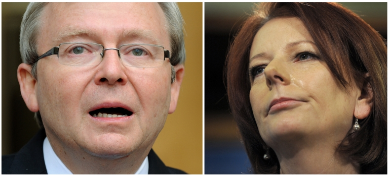 <p>Australian Prime Minister Julia Gillard (R) in Melbourne on August 6, 2010 and former Australian Prime Minister Kevin Rudd (L) shedding a tear as he steps down as prime minister, in Canberra on June 24, 2010.</p>